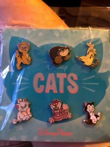 """Disney Park """"CATS"""" 6-Pin Booster Pack Set Figaro Si Am Marie Cheshire More (NEW)"""