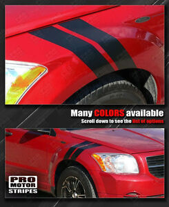 Dodge Caliber 2007-2012 Fender Hash Side Stripes Decals (Choose Color)