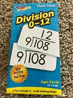 Division 0-12 Flash Cards (Ages 9 & Up) (91 Cards)  Home School NEW!