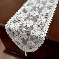 "White Vintage Lace Table Runner Dresser Scarf Oval Doilies Wedding Decor 12""x59"""