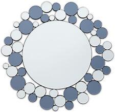 Biarritz Contemporary All Glass Silver & Blue Round Hall Mirror - 80cm Dia