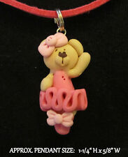 Polymer Clay Ballerina Bear Necklace - Ballet Teddy Bear Suede Cord Necklace