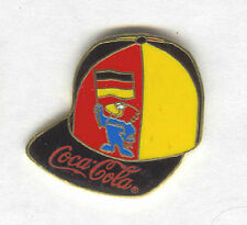 1998 WORLD CUP COCA COLA GERMANY BALL CAP PIN WITH MASCOT FOOTIX AND FLAG