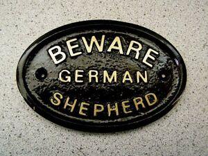 BEWARE OF THE GERMAN SHEPHERD HOUSE DOOR PLAQUE DOG (Gold or Silver Lettering)