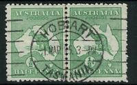 1/2d Kangaroo 1st wmk Pair  * HOBART * TASMANIA * Postmarks 100+ Year Australia