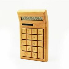 Bamboo Calculator 12 Digit Lcd Display Office School Commercial Tool Solar Power