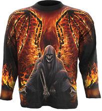 Spiral Direct FLAMING DEATH Allover Longsleeve T-Shirt Biker/Skull/Reaper/Undead