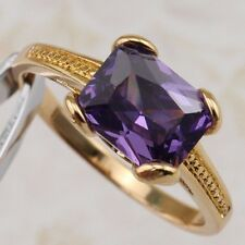 Size 7 Classy Nice Purple Amethyst Gems Jewelry Yellow Gold Filled Ring R2582
