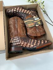 DAN POST Brown Cowboy Boots  EVERGLADE DP3862 Genuine CAIMAN Men's Sz 12 EW $490