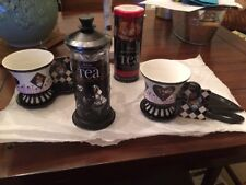NEW RARE ALICE IN WONDERLAND CUPS/SAUCERS DISNEYPARKS TEA SET OF 6