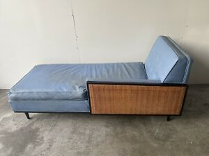 CHIC MID CENTURY MODERN CHAISE WITH CANE SIDE PANEL