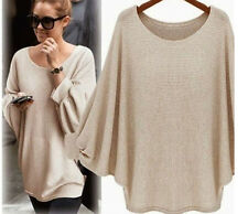 UK Womens Baggy Batwing Long Sleeve Oversized Sweater Plain Jumper Tops Blouse