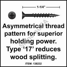 (8000) 8x1-1/4 Phillips Flat Head w/Nibs 17 Black Woodworking Screw #138232