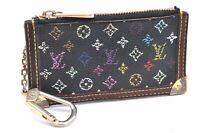 Auth Louis Vuitton Monogram Multicolor Pochette Cles Black Coin Case LV A3450
