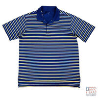 Adidas Climalite Mens 2XL Short Sleeve Polyester Polo Shirt Striped Blue