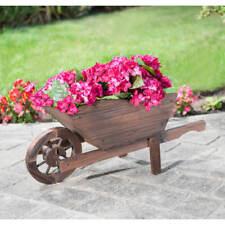 Roue brouette jardin JARDINIERE brûlé en bois moderne élégant pot de fleur