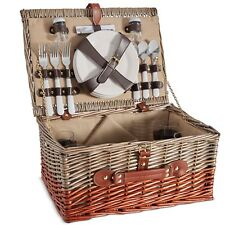 VonShef 4 Person Wicker Basket Picnic Set with Plates, Wine Glasses & Cutlery