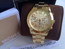 NWT. MK5726 Women's Mercer Chronograph Mid-Size Gold Tone Steel Watch FAST SHIP