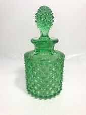Vintage Green Hobnail Cologne Bottle 6.5""