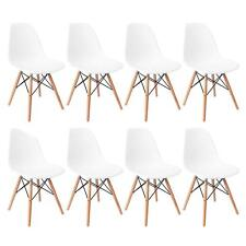 Set of 8 Mid Century Modern DSW Dining Side Chair Wood Legs in White