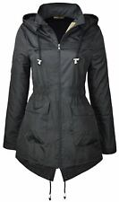 Womens Plain MAC Parka Raincoats Festival Showerproof Fishtail Jackets 18-24