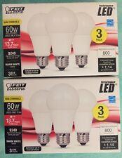 6 x Feit Electric • LED • 9.5 Watt • 60W  • 3000K • 800 Lumens • Long-Life Bulbs