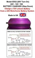 MOTORHOME 24V to 12V BATTERY TO BATTERY CHARGER 15A /180W Model E932 26V Turn On