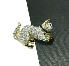 Vintage Playful CAT Brooch Pave Crystal Rhinestone Enamel Ball Gold PL TT38c