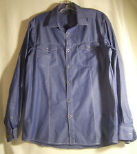 Kenneth Cole Reaction Blue Mens Cotton Western Style Shirt  Size L