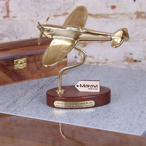 Brass 19cm Spitfire Model With Churchill Quote Plaque Aeronautical Memorabilia