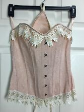 Vacodo Plus 1X Vintage Pink Laced Back Boned Corset Bustier Silver Hook Closure