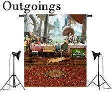 Alice in Wonderland Photography Backdrop Cartoon Cat Carpet Mushrooms Background