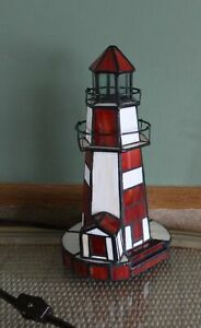 "Tiffany Style 10"" Red Stain Glass Lighthouse Night Light Nautical Accent Lamp (E"