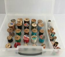 Vtg.Lot of 40 Wooden Spools & Plastic Organizer For Sewing thread