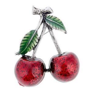 New On Card Cherry Cherries Red Green Enamel Silver Statement Brooch 4cm x 3cm