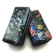 RFID Blocking Hand-Painted Roses Clutch Wallet