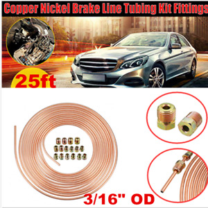 """Copper Nickel Car Brake Line Tubing Kit 3/16""""  25 Ft Coil Rolls With Fittings"""