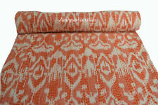 New Indian Cotton Kantha Quilt Twin Ikat Screen Print Bedding Bedspread Coverlet