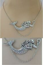 Mermaid Necklace Silver Pendant Chain Charm Jewelry Women Fashion Accessories