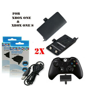 Xbox One & One S Controller Rechargeable Battery 2X 2400mAh Twin Pack & cable UK