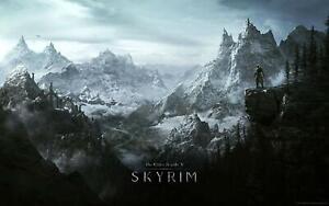The Eder Scrolls V Skyrim Movie Poster Canvas Picture Art Print Premium Quality