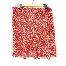 J. Crew Mercantile Size XL Mini Skirt Tie Waist Floral Ruffle Faux Wrap Orange
