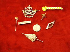 #4 of 4, LOT OF OLD VTG COSTUME BROOCHES & HAIR CLIPS, RHINESTONE UMBRELLA, MORE