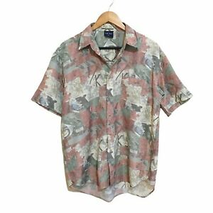Now Abstract Vintage 90's Button Front Short Sleeve Shirt Mens Medium