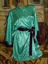 USA L XL Glossy Satin Robe Aqua Blue Black Lace Frederick's Kimono NWT