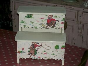 WOODEN STEP STOOL MADE WITH CATH KIDSTON COWBOY DESIGN NURSERY BEDROOM BABY BOY