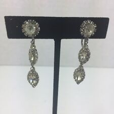 Vintage WEISS Dangle Marquis And Round Clear Rhinestone Earrings Signed