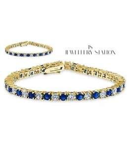 yellow gold finish round cut created diamond and sapphire bracelet womens