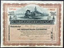 AMERICAN PALACE CAR COMPANY Stock 1905. ME. SCARCE. BEAUTIFUL VIG. VF
