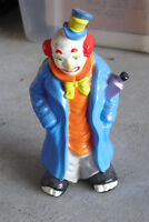"Vintage 1970s Hand Painted Ceramic Clown Figurine 7 1/4"" Tall"